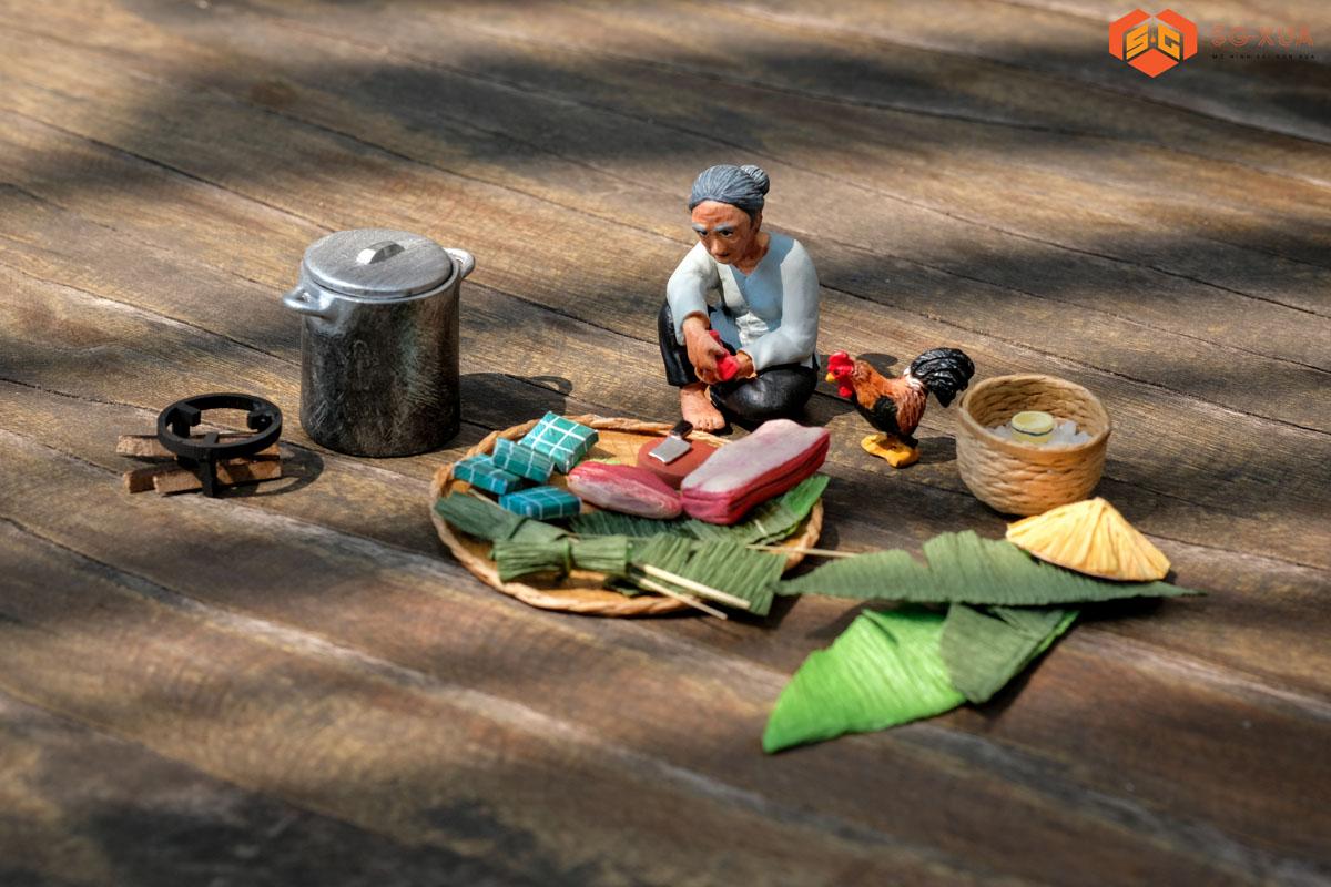 Bộ gói bánh chưng – Mô Hình Sài Gòn Xưa