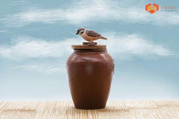 Cái lu quê & chú chim – Mô Hình Sài Gòn Xưa
